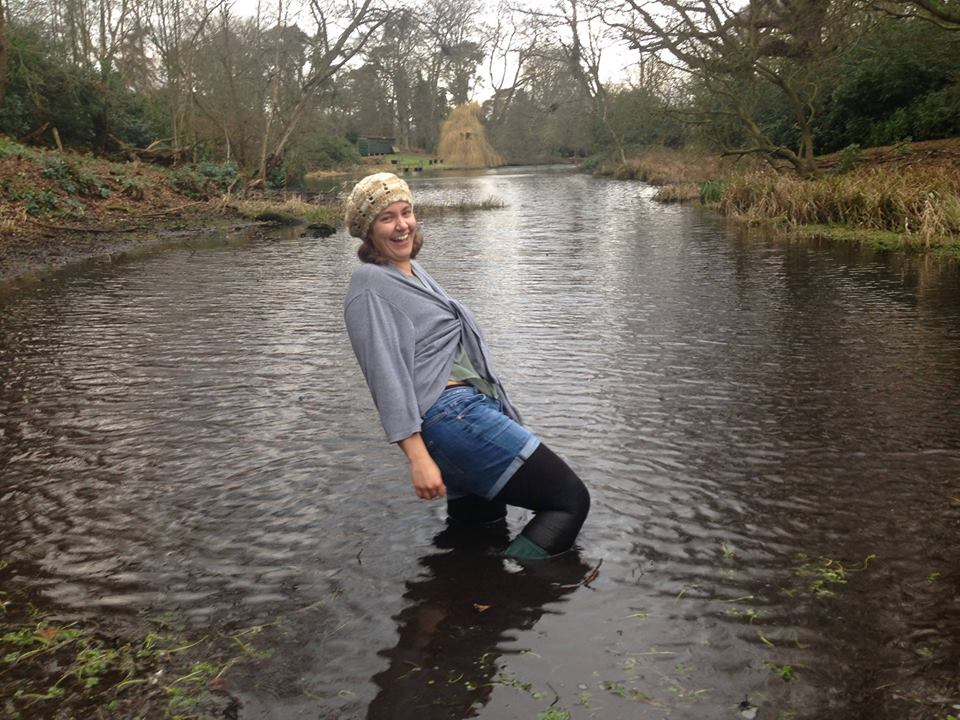 PhD researcher Becca Farnum at Holt Hall lake
