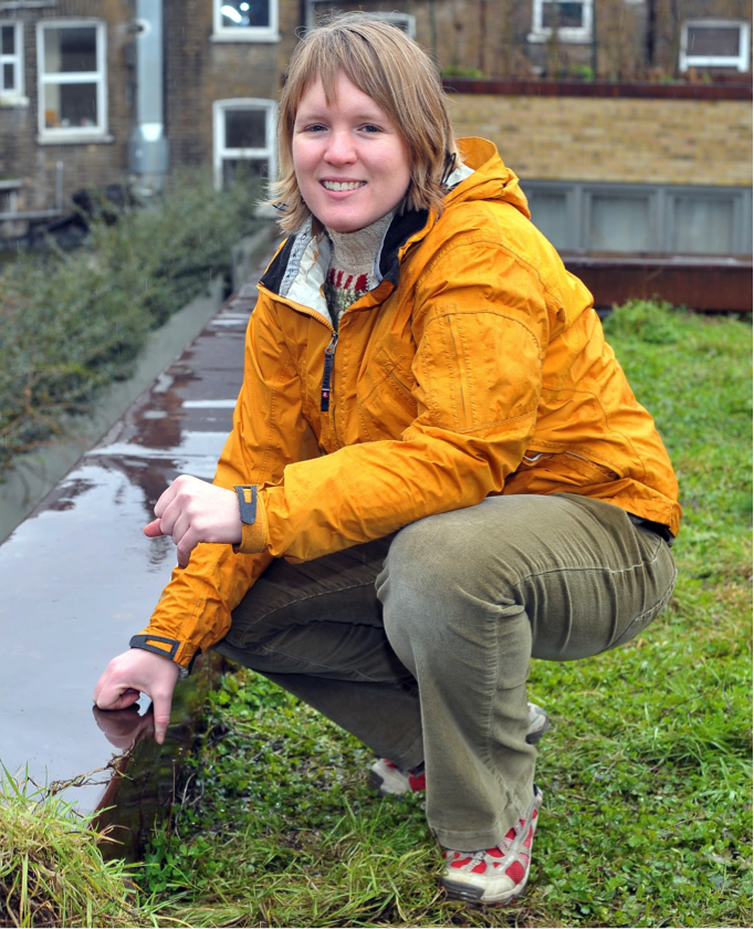 PhD researcher Kelly Gunnell on one of London's green roofs