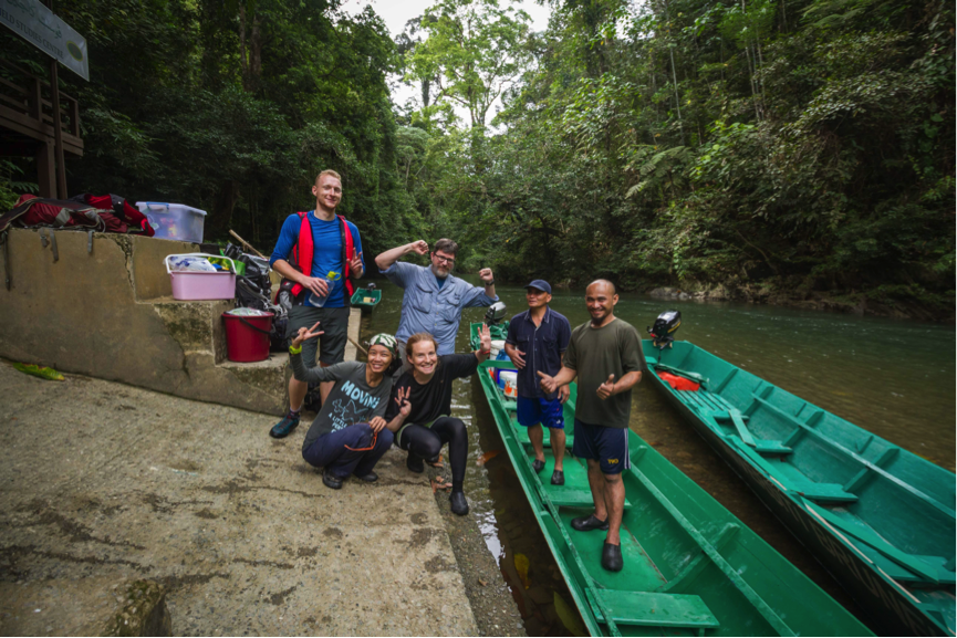 Celebrating the success of exploring the upper reaches of Temburong River