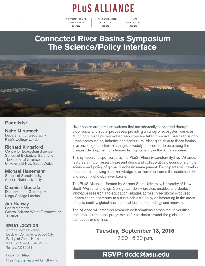 Flyer containing details on the PLuS Alliance river symposium