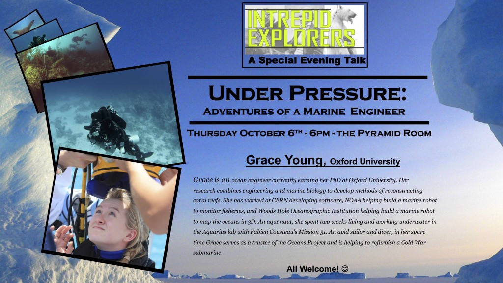 Event flyer for Intrepid Explorers talk by Grace Young