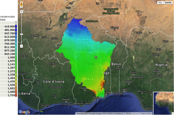 Rainfall gradients in the Volta basin (see 1, 2)