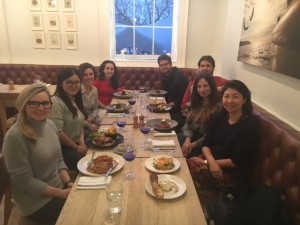Students enjoying a meal with MSc Water alumna currently working in the water utility sector